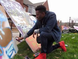 Students participating in the graffiti workshop