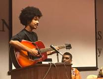 Student performing during a department event